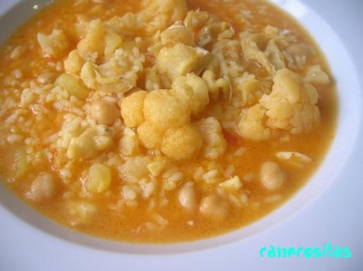 Arroz de bacalao y coliflor con patatas y garbanzos - Bacalao con garbanzos y patatas ...