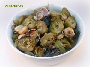 Alcachofas en salsa verde con almejas recetariocanecositas - Almejas con salsa verde ...