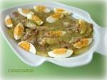 Huevos, pescado y patatas en salsa verde 1. Thermomix