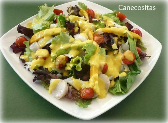 Ensalada de bacacalo con vinagreta de mango con thermomix for Cocinar con mango