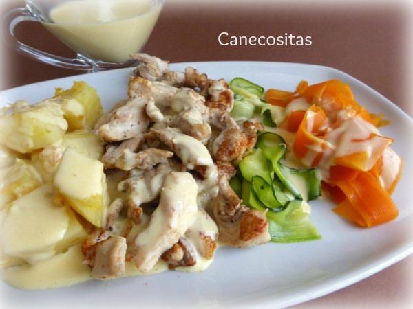 Crema de verduras, pollo y patatas con salsa suprema 1 con