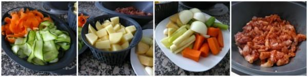 Crema de verduras, pollo y verduras con salsa suprema 3 thermomix