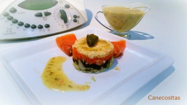 Ensalada de ahumados con vinagreta de acaparrras, cebolla y miel 1 thermomix