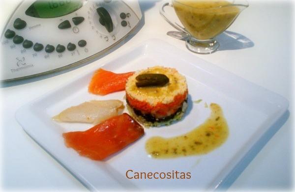 Ensalada de ahumados con vinagreta de alcaparras, mostaza y miel  thermomix